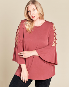 Bell Sleeve Criss-Cross Top, Plus - Trilogy Boutique