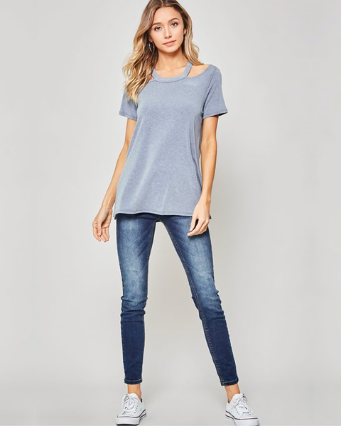 Blue Strappy Neck Tee, Tops - Trilogy Boutique