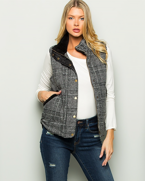 Plaid Check Vest, Tops - Trilogy Boutique