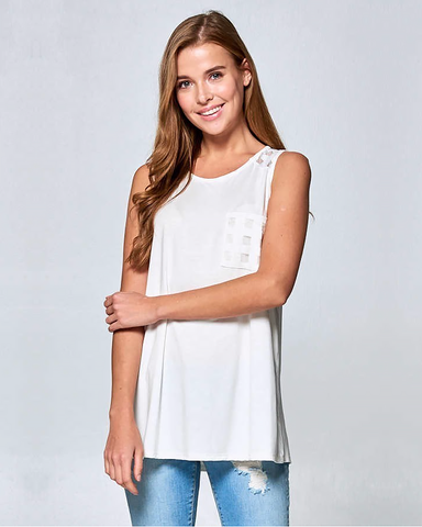 Ivory Contrast Tunic Tank, Tops - Trilogy Boutique