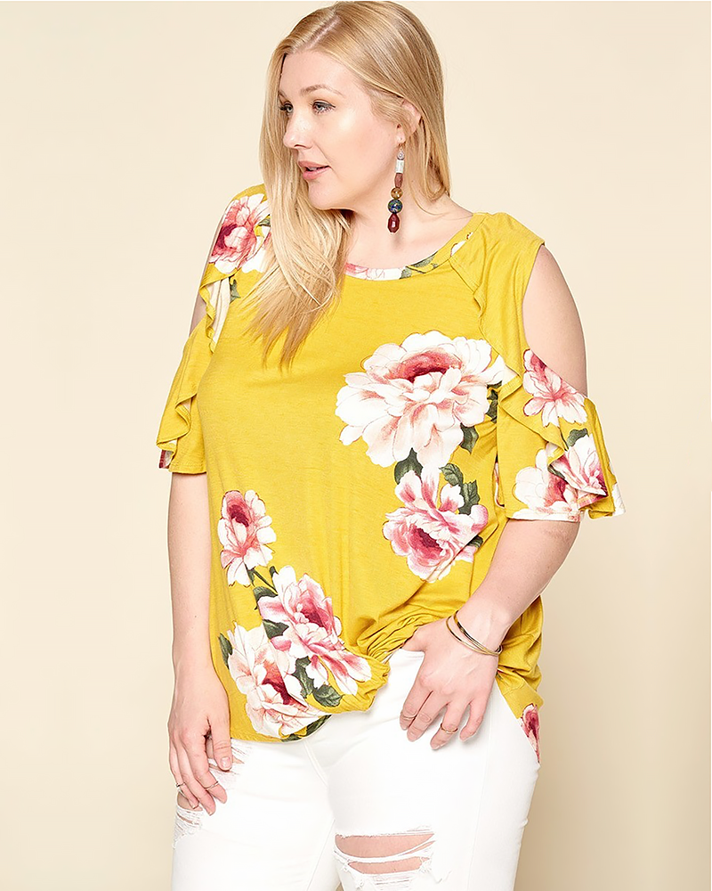 Ruffled Cold Shoulder Top, Plus - Trilogy Boutique