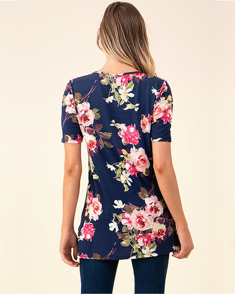 Navy Floral Criss-Cross Tunic, Tops - Trilogy Boutique