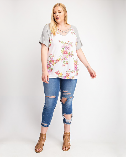 Grey Floral Criss Cross Neck Tee, Plus - Trilogy Boutique