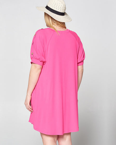 Hot Pink Swing Dress, Plus - Trilogy Boutique