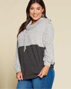 Color Block Stripe Pullover, Plus - Trilogy Boutique