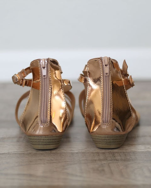 Rose Gold Gladiators, Shoes - Trilogy Boutique