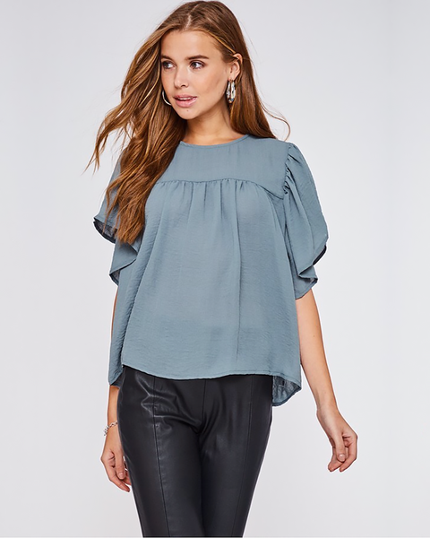 Teal Ruffled Sleeve Blouse, Tops - Trilogy Boutique