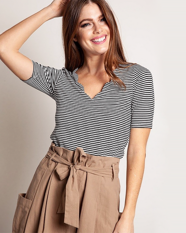Scalloped Stripe Top, Tops - Trilogy Boutique