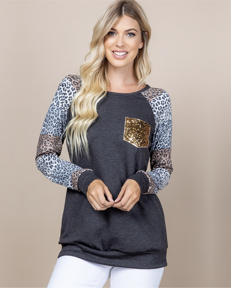Leopard French Terry Pullover, Tops - Trilogy Boutique