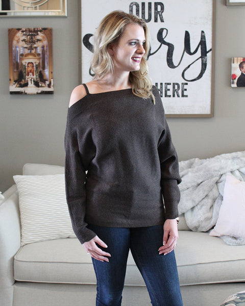 Open-Shoulder Ribbed Sweater, Tops - Trilogy Boutique
