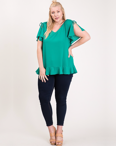 Slit Sleeve Ruffle Top, Plus - Trilogy Boutique