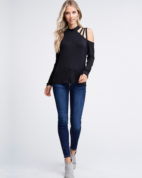 Black Strappy Shoulder Top, Tops - Trilogy Boutique