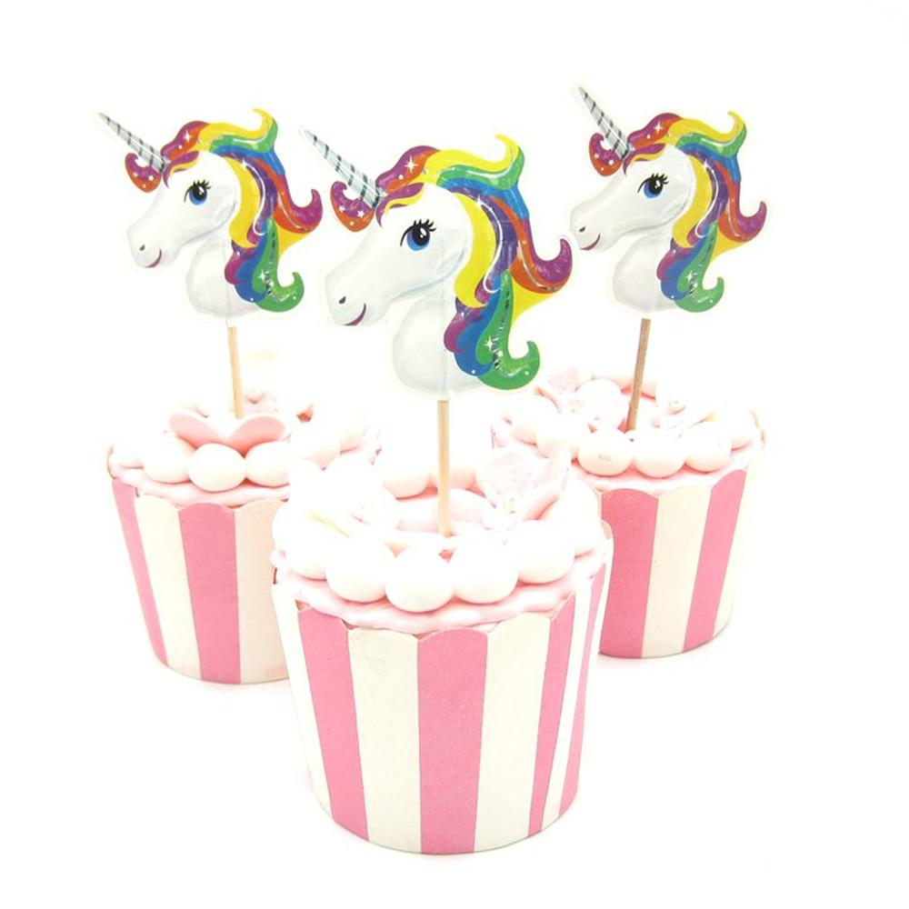 120pcs Unicorn Cupcake Toppers Picks For Birthday Party Decorations Home Cake Pick