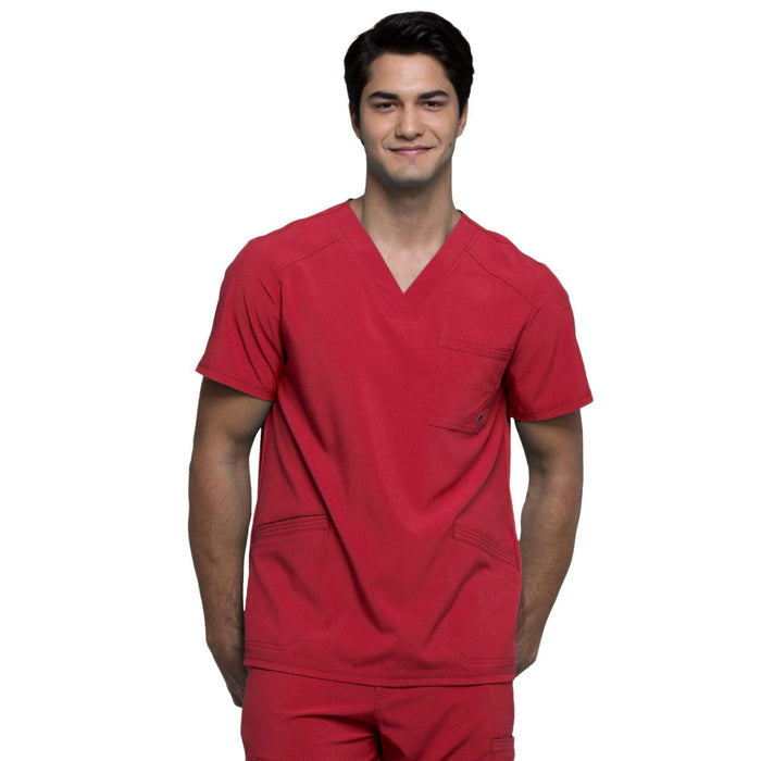 Cherokee Scrubs Top 2XL Cherokee Infinity CK900A Scrubs Top Men's V-Neck Red