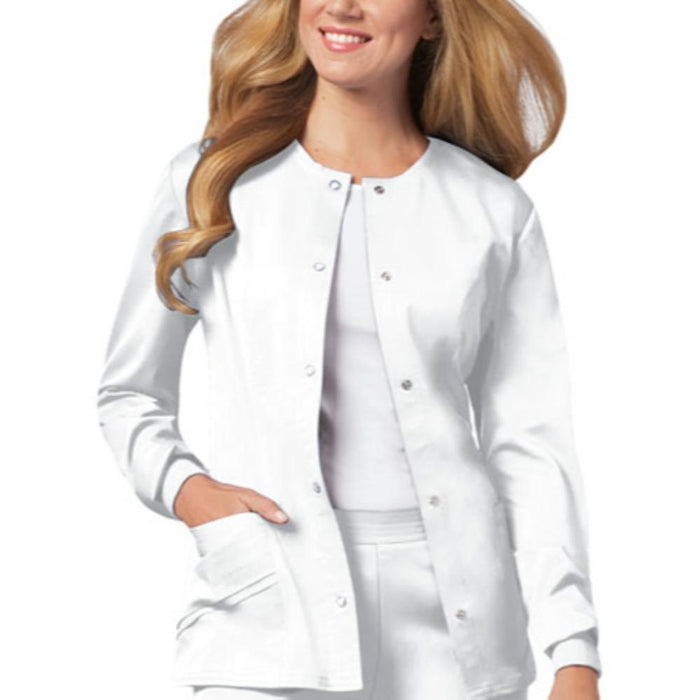 Cherokee Scrubs Jacket 2XL Cherokee Luxe 1330 Scrubs Jacket Women's Snap Front Warm-Up White
