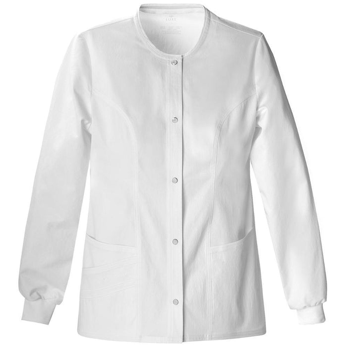 Cherokee Scrubs Jacket 3XL Cherokee Luxe 1330 Scrubs Jacket Women's Snap Front Warm-Up White