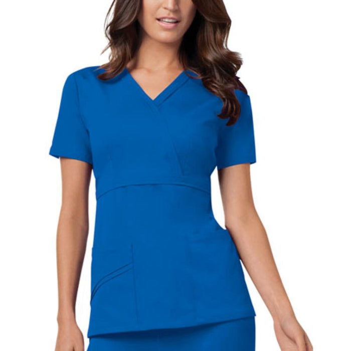 Cherokee Scrubs Top 2XL Cherokee Luxe 1841 Scrubs Top Women's Mock Wrap Royal
