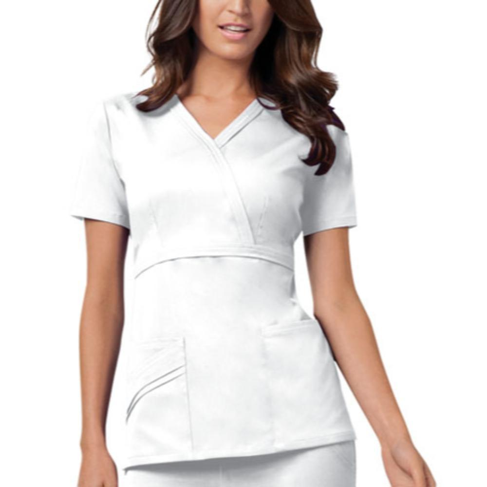 Cherokee Scrubs Top 2XL Cherokee Luxe 1841 Scrubs Top Women's Mock Wrap White