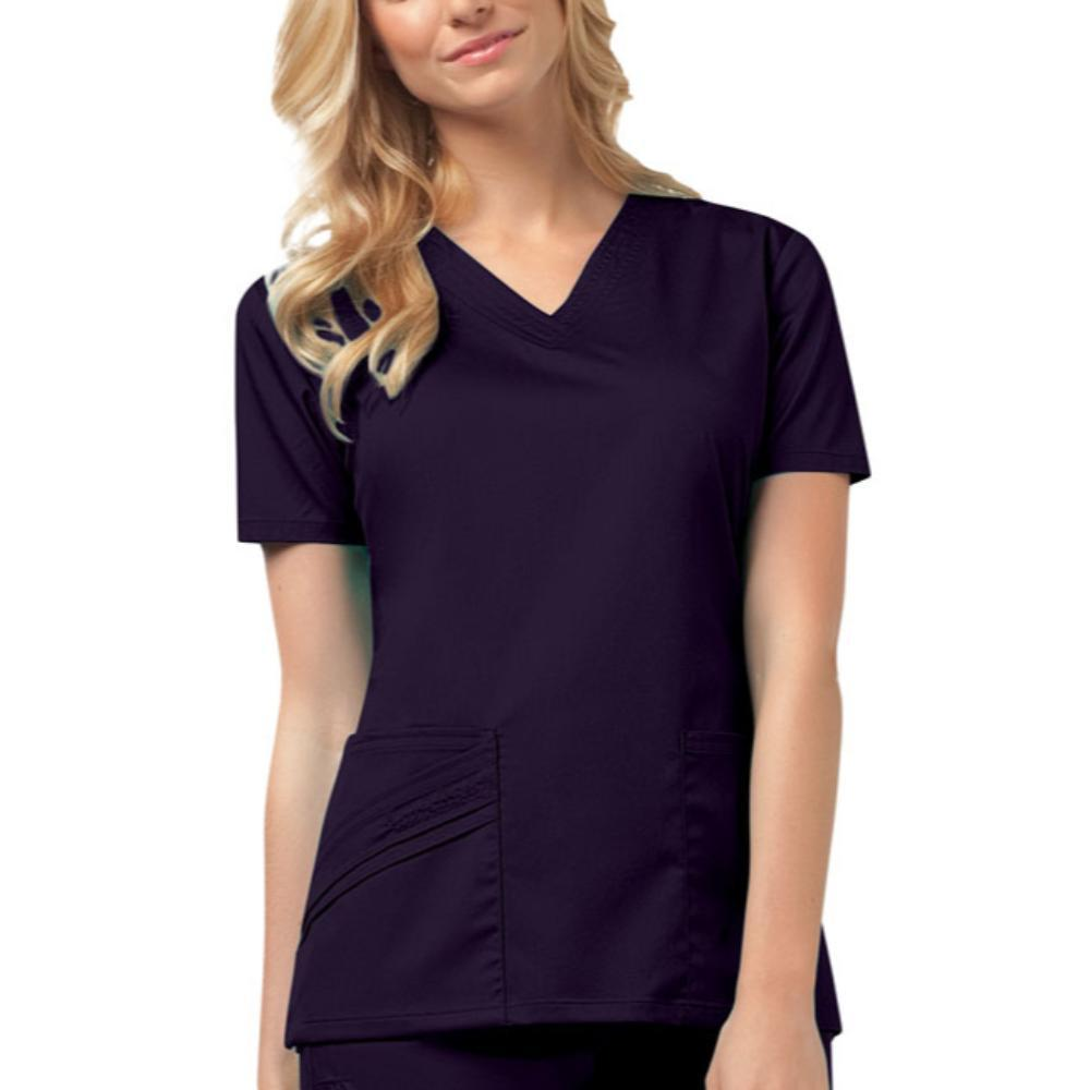 Cherokee Scrubs Top 2XL Cherokee Luxe 1845 Scrubs Top Women's V-Neck Nu-Grape