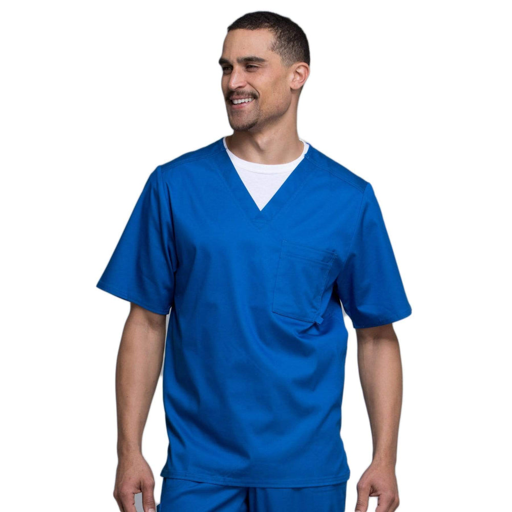 Cherokee Scrubs Top 2XL Cherokee Luxe 1929 Scrubs Top Men's V-Neck Royal