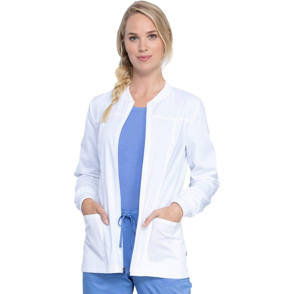 Cherokee Warm Up Jacket Cherokee Revolution Tech WW305AB Scrubs Warm Up Jacket Women White