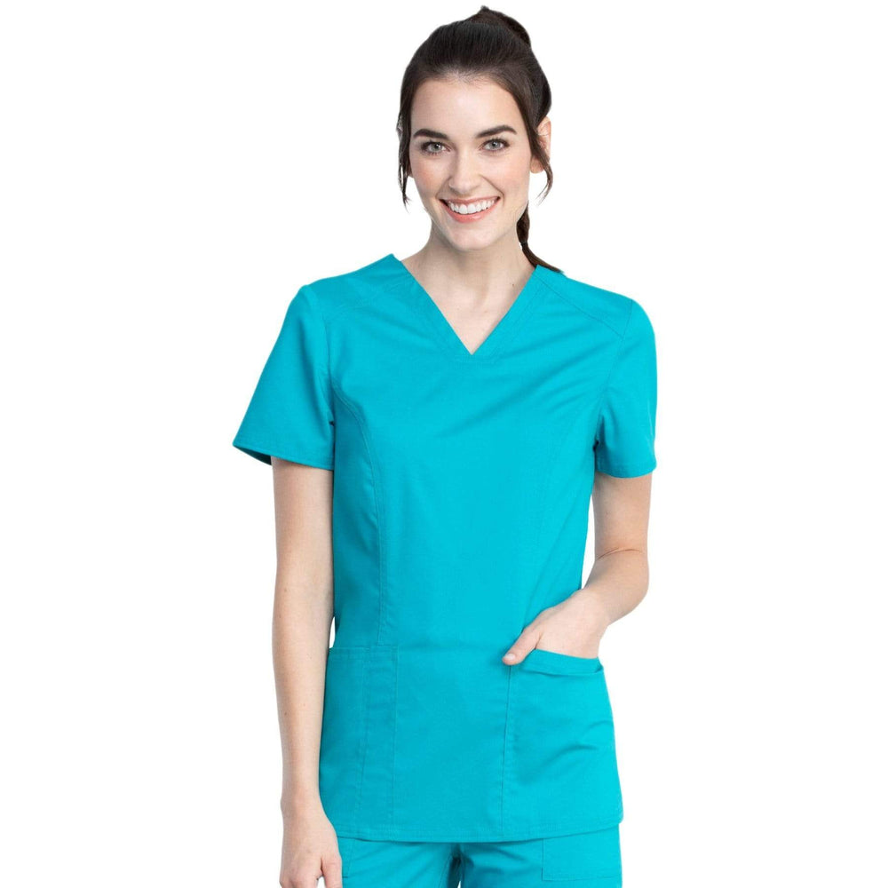 Cherokee Top 2XL Cherokee Revolution Tech WW741AB Scrubs Top Women Teal Blue