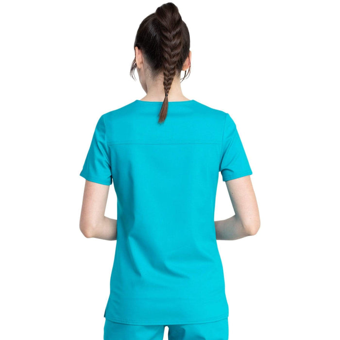 Cherokee Top Cherokee Revolution Tech WW741AB Scrubs Top Women Teal Blue
