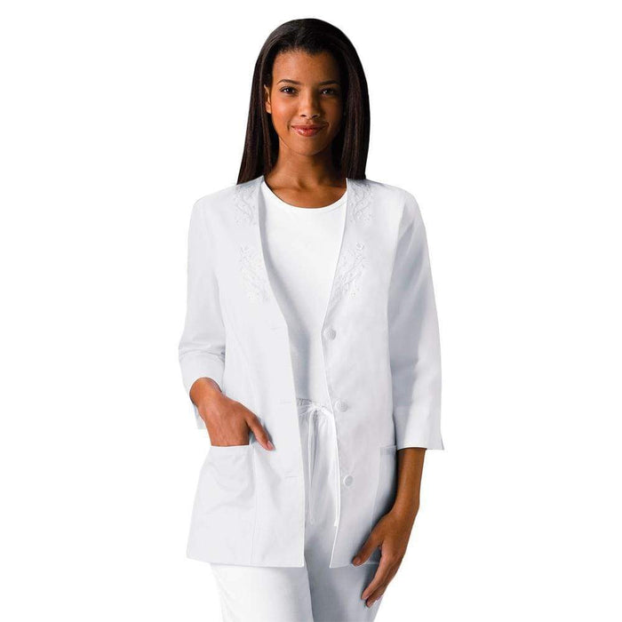 Cherokee Lab Coat 2XL Cherokee Workwear Professionals 1491 Lab Coat Women's 3/4 Sleeve Embroidered White