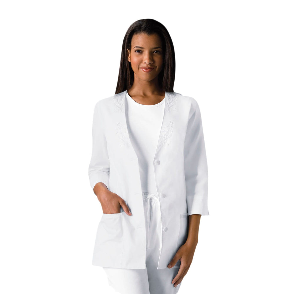 Cherokee Lab Coats Cherokee Workwear Professionals 1491 Lab Coat Women's 3/4 Sleeve Embroidered White