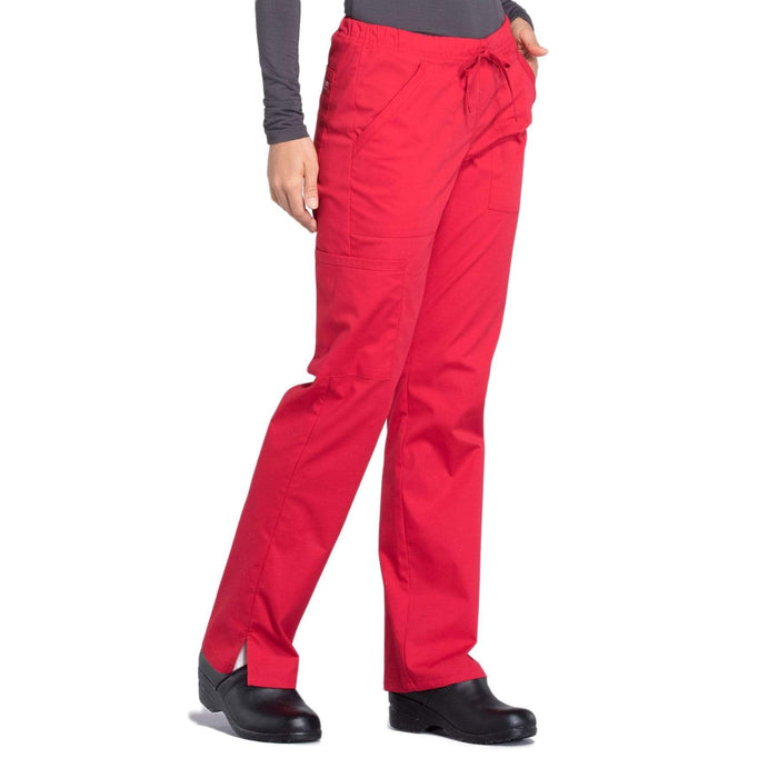 Cherokee Scrubs Pants Cherokee Workwear Professionals WW160 Scrubs Pants Women's Mid Rise Straight Leg Drawstring Red