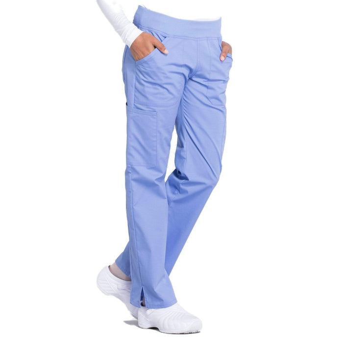 Cherokee Scrubs Pants Cherokee Workwear Professionals WW170 Scrubs Pants Women's Mid Rise Straight Leg Pull-on Cargo Ceil Blue