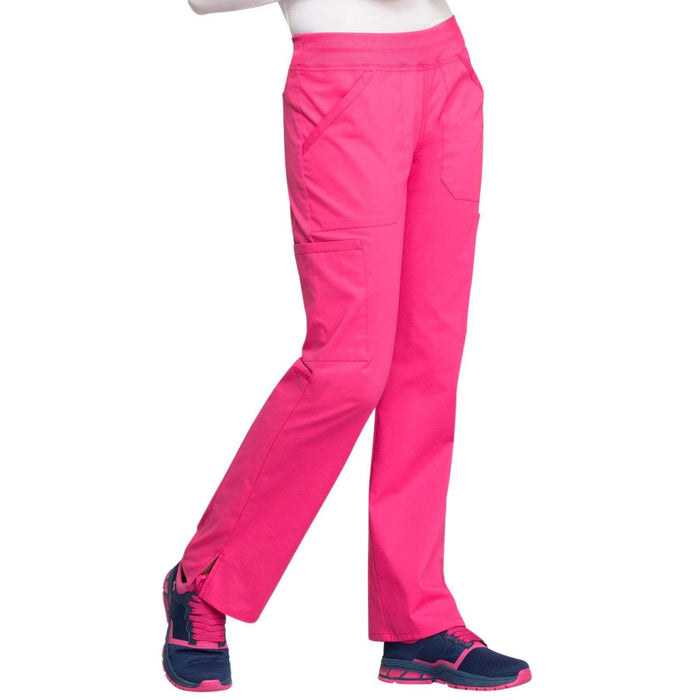 Cherokee Scrubs Pants Cherokee Workwear Professionals WW170 Scrubs Pants Women's Mid Rise Straight Leg Pull-on Cargo Electric Pink