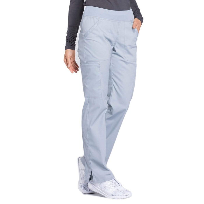 Cherokee Scrubs Pants Cherokee Workwear Professionals WW170 Scrubs Pants Women's Mid Rise Straight Leg Pull-on Cargo Grey