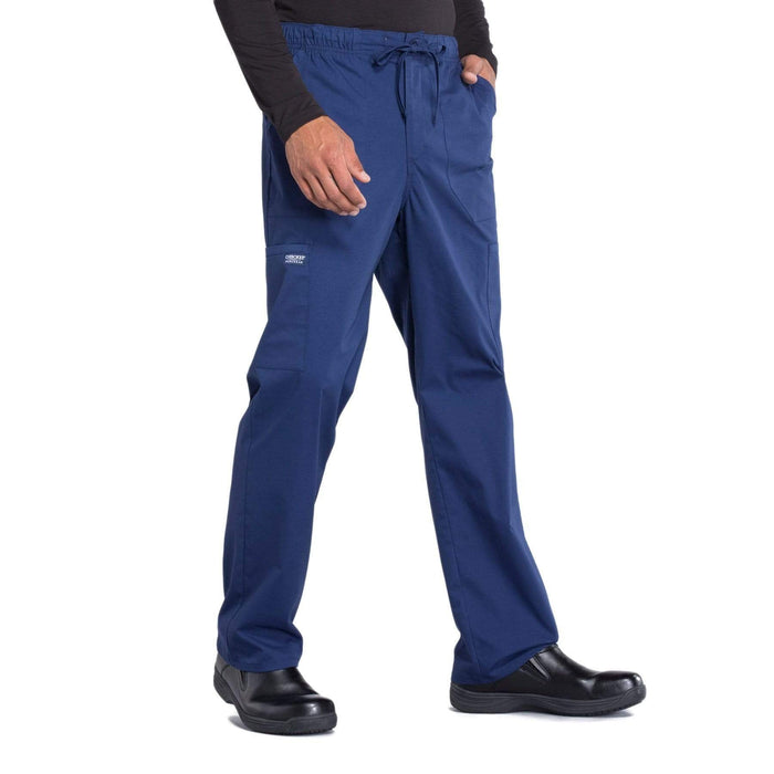 Cherokee Scrubs Pants Cherokee Workwear Professionals WW190 Scrubs Pants Men's Tapered Leg Drawstring Cargo Navy