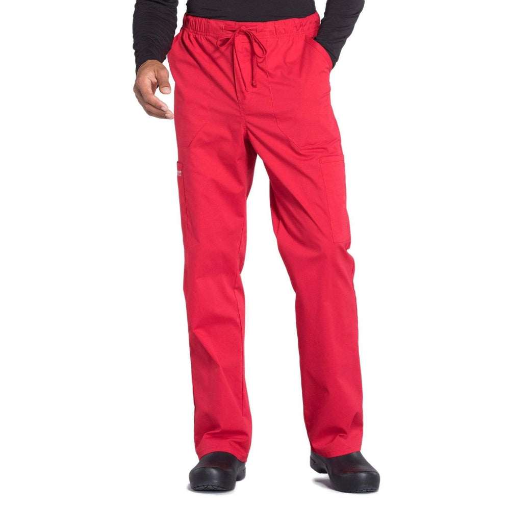 Cherokee Scrubs Pants 2XL / Regular Length Cherokee Workwear Professionals WW190 Scrubs Pants Men's Tapered Leg Drawstring Cargo Red
