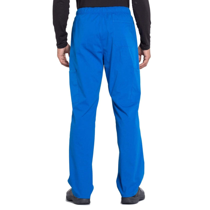 Cherokee Scrubs Pants Cherokee Workwear Professionals WW190 Scrubs Pants Men's Tapered Leg Drawstring Cargo Royal