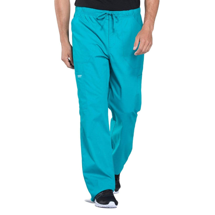 Cherokee Scrubs Pants 2XL / Regular Length Cherokee Workwear Professionals WW190 Scrubs Pants Men's Tapered Leg Drawstring Cargo Teal Blue