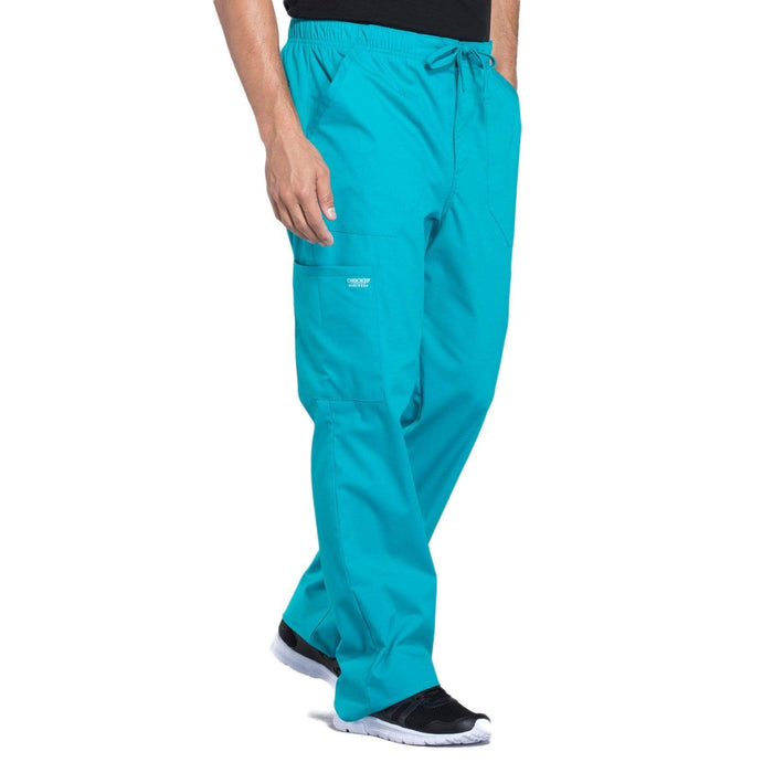 Cherokee Scrubs Pants Cherokee Workwear Professionals WW190 Scrubs Pants Men's Tapered Leg Drawstring Cargo Teal Blue