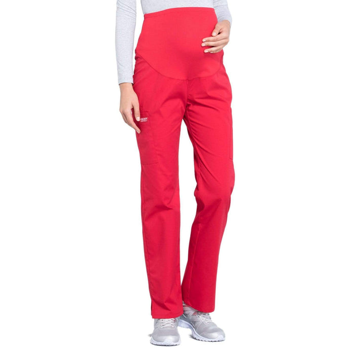Cherokee Workwear Professionals WW220 Scrubs Pants Maternity Straight Leg Red