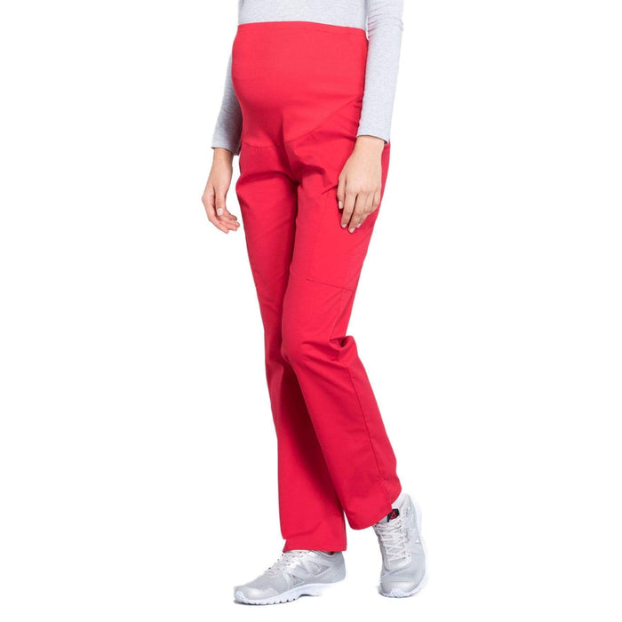 Cherokee Scrubs Pants Cherokee Workwear Professionals WW220 Scrubs Pants Maternity Straight Leg Red