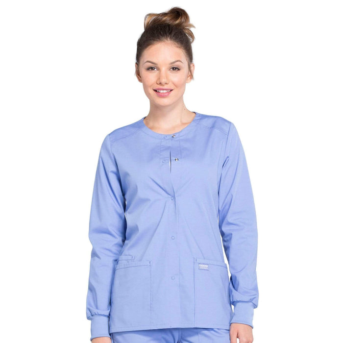 Cherokee Scrubs Jacket 2XL Cherokee Workwear Professionals WW340 Scrubs Jacket Women's Snap Front Warm-up Ceil Blue