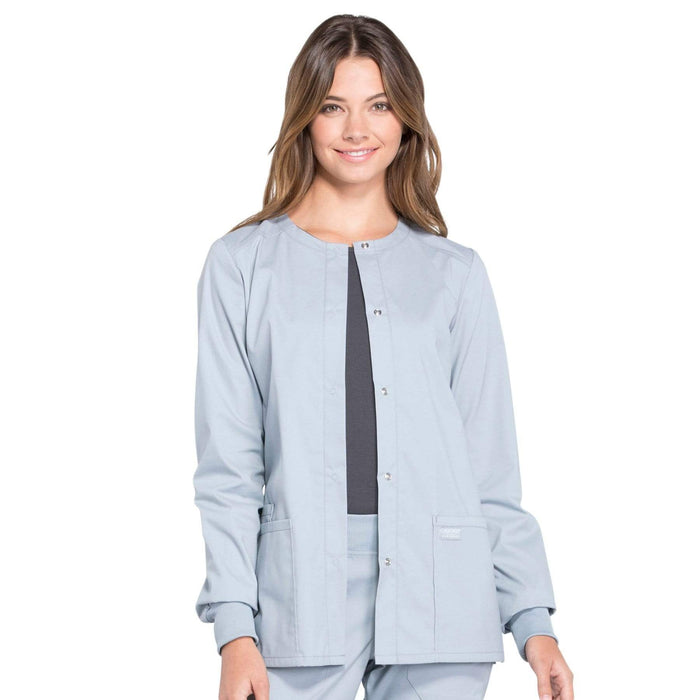 Cherokee Scrubs Jacket 2XL Cherokee Workwear Professionals WW340 Scrubs Jacket Women's Snap Front Warm-up Grey