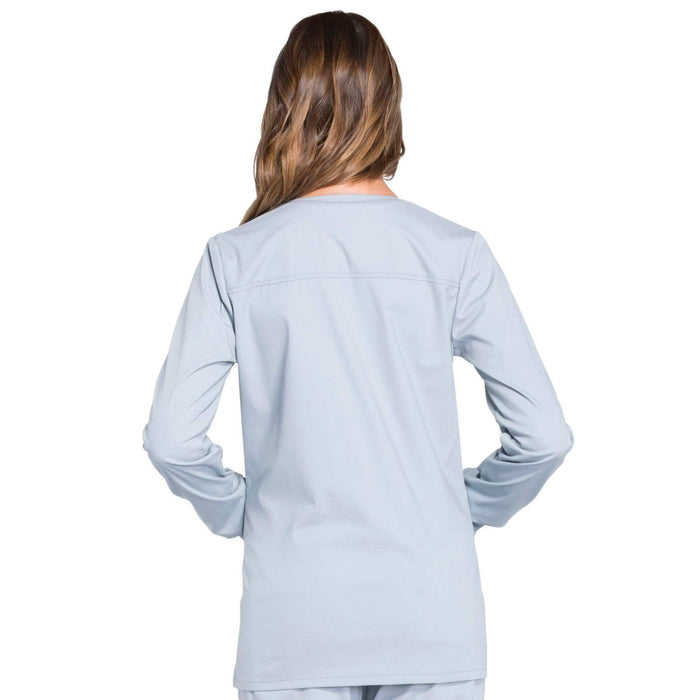 Cherokee Scrubs Jacket Cherokee Workwear Professionals WW340 Scrubs Jacket Women's Snap Front Warm-up Grey