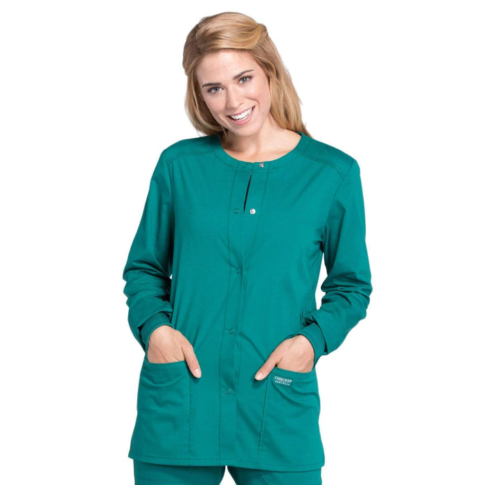Cherokee Scrubs Jacket 3XL Cherokee Workwear Professionals WW340 Scrubs Jacket Women's Snap Front Warm-up Hunter Green