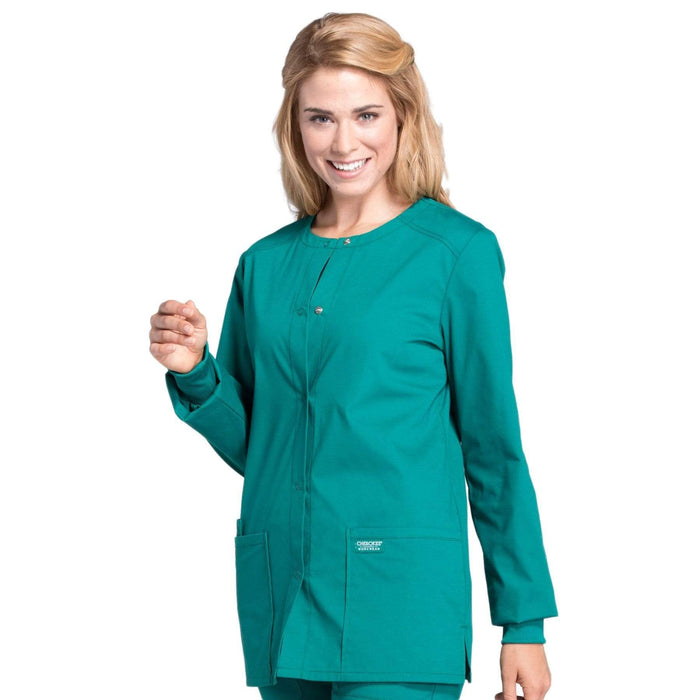 Cherokee Scrubs Jacket Cherokee Workwear Professionals WW340 Scrubs Jacket Women's Snap Front Warm-up Hunter Green