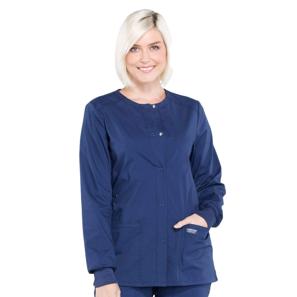Cherokee Scrubs Jacket 2XL Cherokee Workwear Professionals WW340 Scrubs Jacket Women's Snap Front Warm-up Navy