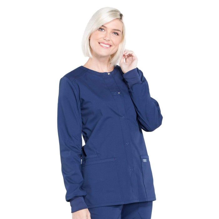 Cherokee Scrubs Jacket Cherokee Workwear Professionals WW340 Scrubs Jacket Women's Snap Front Warm-up Navy