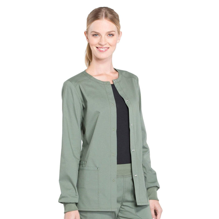Cherokee Scrubs Jacket Cherokee Workwear Professionals WW340 Scrubs Jacket Women's Snap Front Warm-up Olive