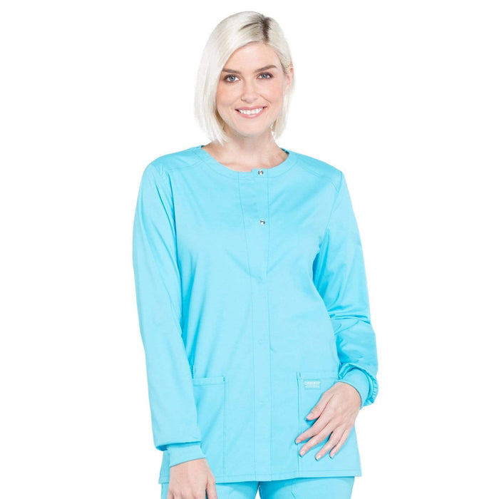 Cherokee Scrubs Jacket 2XL Cherokee Workwear Professionals WW340 Scrubs Jacket Women's Snap Front Warm-up Turquoise