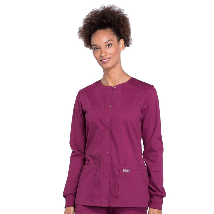 Cherokee Scrubs Jacket Cherokee Workwear Professionals WW340 Scrubs Jacket Women's Snap Front Warm-up Wine